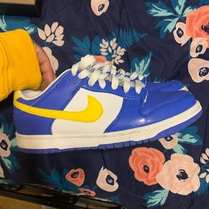 Blue and yellow Nike dunks